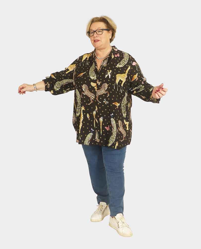 blouse lm dierenprint Frapp