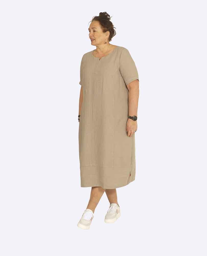 jurk linnen lang m zakken Vetono