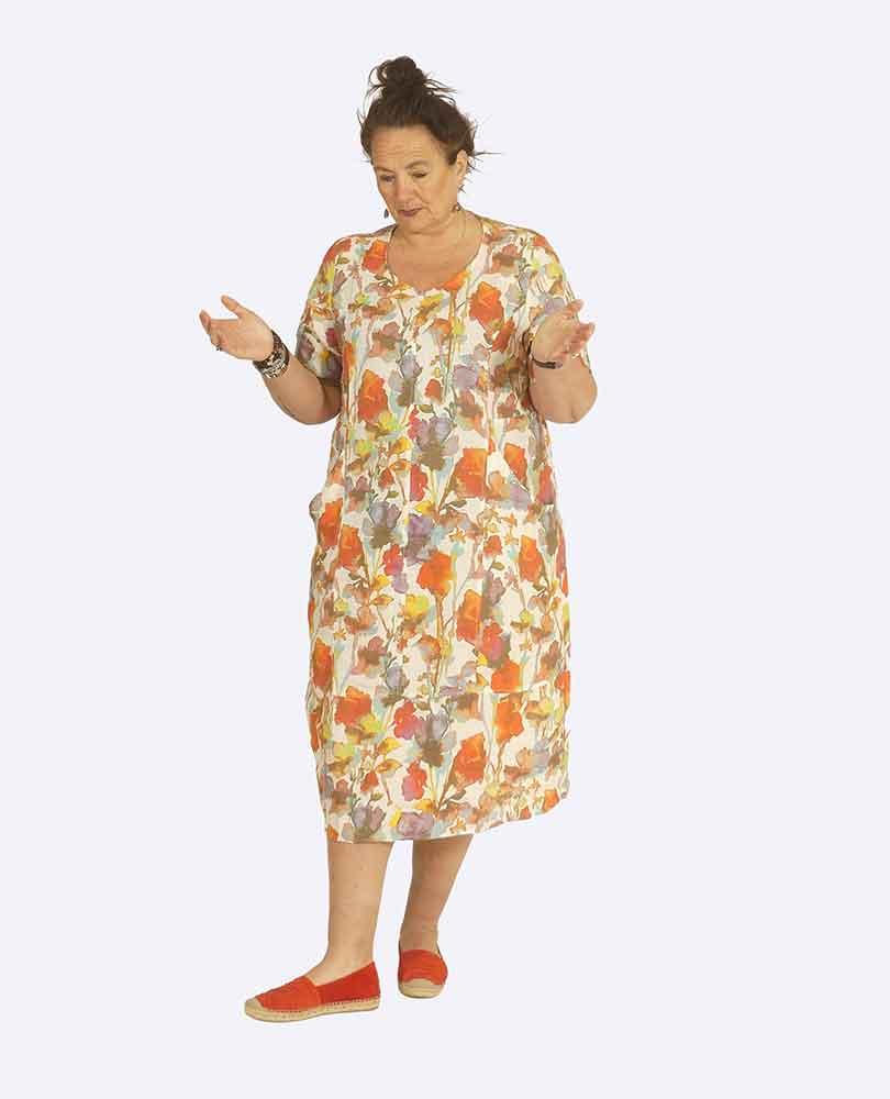 jurk linnen print m zakken Vetono