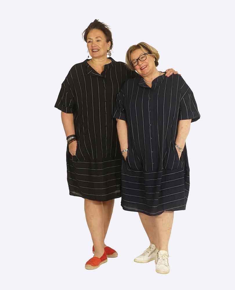 jurk lang streep m zakken Vetono