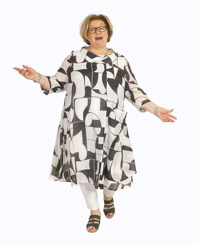 jurk gevoerd print Vetono