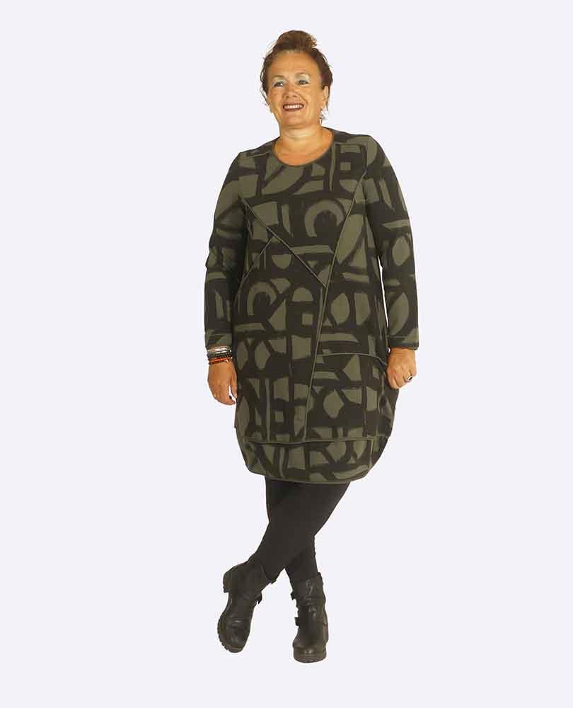 jurk heavy tricot print Vetono