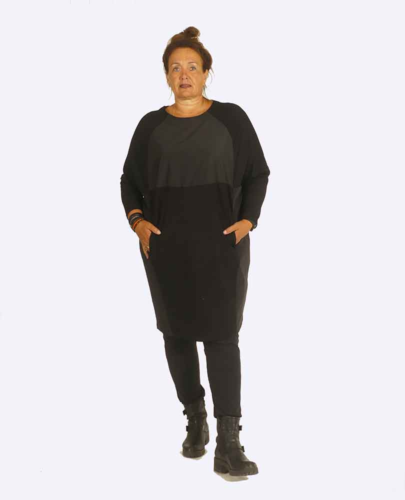 jurk 2 stofsoorten Vetono