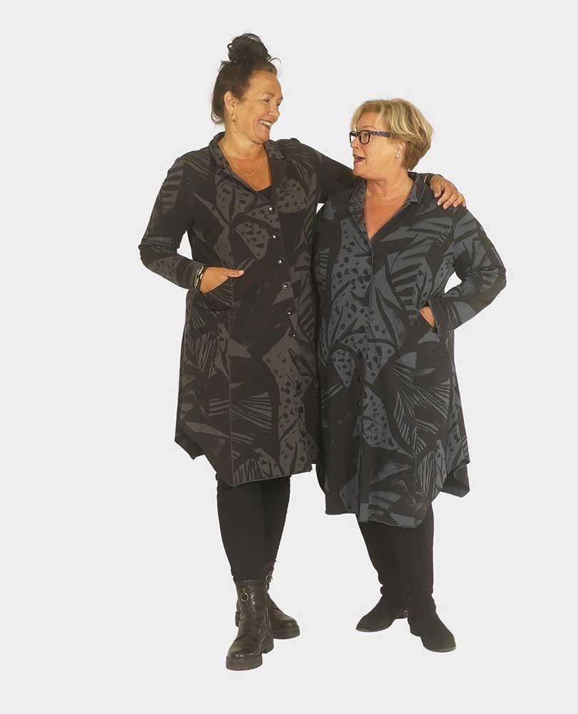 jurk sweat doorknoop print Vetono