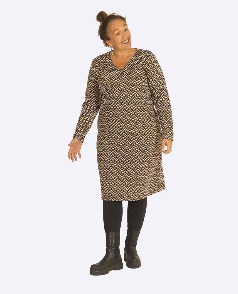 jurk tricot print zig-zag Exxcellent