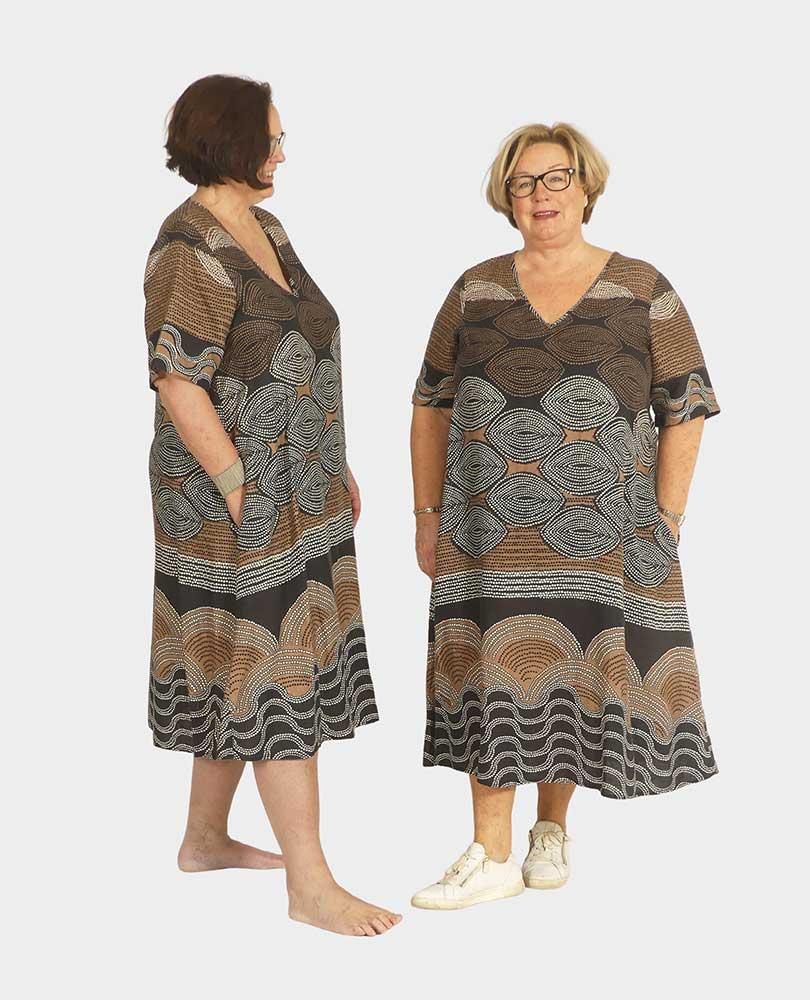 jurk linnen a-lijn print Portraits