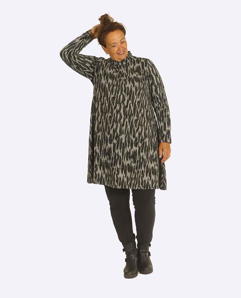 jurk a-lijn print Yoek White Label