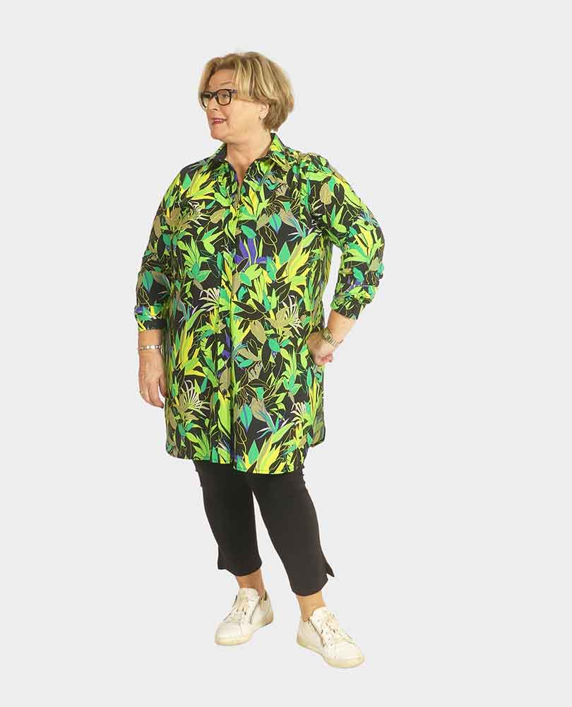 blouse travel lang bloemprint Plus Basics